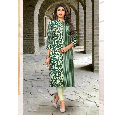Green Colored Beautiful Printed Straight Cotton Kurti
