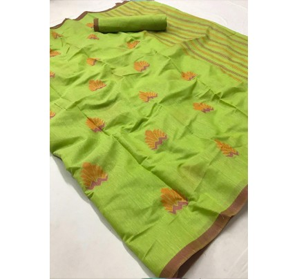 Green Colored Beautiful Woven Linen Silk Saree - gnp005485