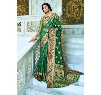 Green Paithani Silk Traditional Saree