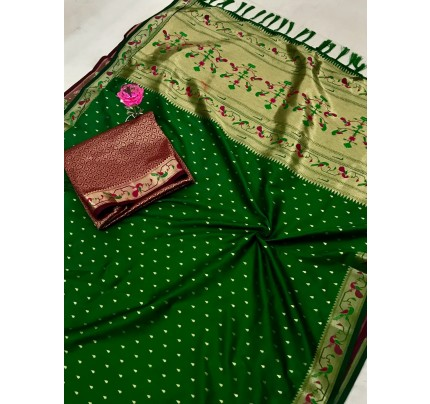 Green Pure Soft Mina Zari Weaving Paithani Saree - gnp0108744