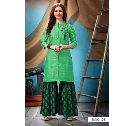 Green Rayon Satin Embroidered Kurti with Sharara- gnp007006