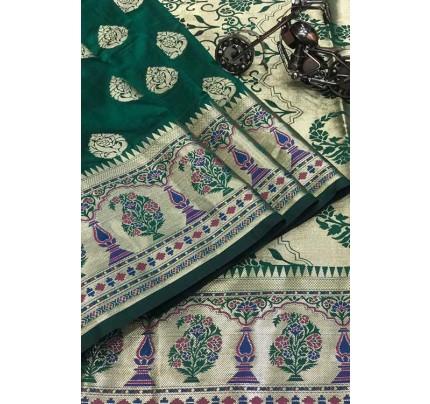 Green Silk Banarasi Handloom Saree - gnp006422