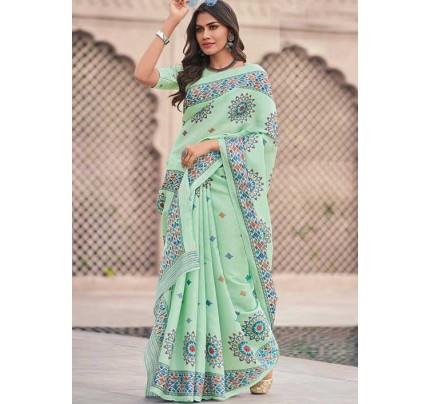 Green Weaving silk saree with Blouse Piece - Weaving silk sarees Online