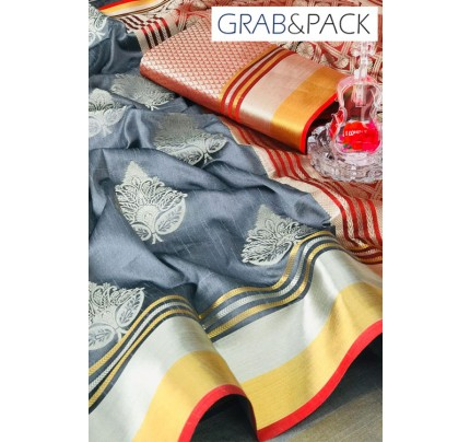Soft Banarasi silk Weaving Saree gnp007648 - Grey banarasi silk sarees online with price | grabandpack.com