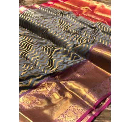 Grey Banarasi Silk With Zari Work Saree - gnp009005
