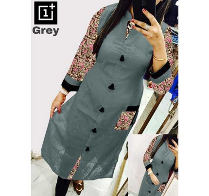 Grey Colored Beautiful Kalamkari Printed Straight Slub Cotton Kurti.