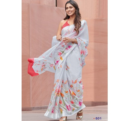 Grey Colored Beautiful Linen Silk Floral Printed Saree Online