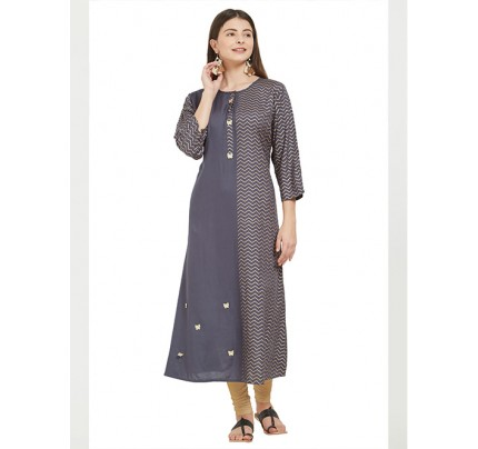 Grey Colored Beautiful Printed A-line Rayon Kurti