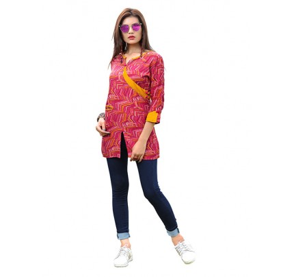 Pink Colored Beautiful Printed Rayon Straight Angrakha Style Kurti