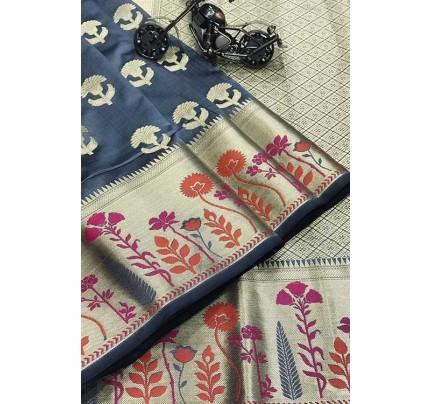 Grey Silk Banarasi Handloom Saree - gnp006424