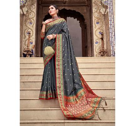 Grey Soft Silk Weaving with Beautiful Designer Border & Pallu Saree - gnp0108751