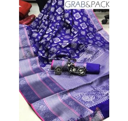 Jacquard woven saree in Blue gnp007588 - banarasi silk sarees online shopping