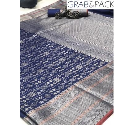 Jacquard woven saree in Blue gnp007596 - banarasi silk sarees online shopping