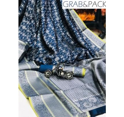 Jacquard woven saree in Navy Blue gnp007590 - banarasi silk sarees online shopping
