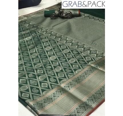 Jacquard woven saree in Green gnp007603 - banarasi silk sarees online shopping