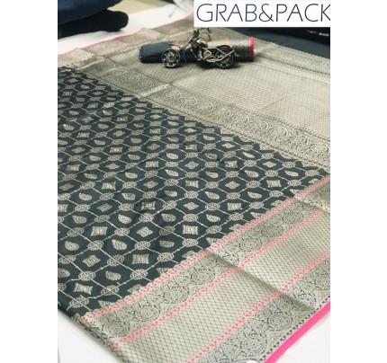 Jacquard woven saree in Grey gnp007602 - banarasi silk sarees online shopping