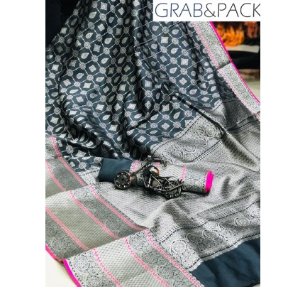 Jacquard woven saree in Grey gnp007604- banarasi silk sarees online shopping