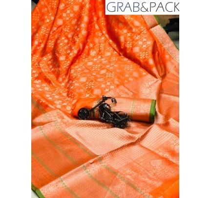 Jacquard woven saree in Orange gnp007593 - banarasi silk sarees online shopping