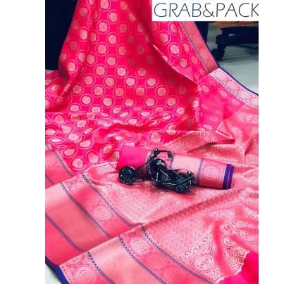 Jacquard woven saree in Pink gnp007594 - banarasi silk sarees online shopping