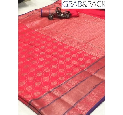 Jacquard woven saree in Pink gnp007601 - banarasi silk sarees online shopping