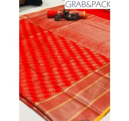 Jacquard woven saree in Red gnp007599 - banarasi silk sarees online shopping