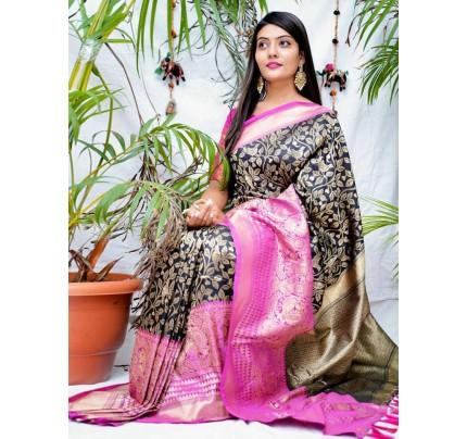 kanchipuram Silk Black Colour Saree - gnp010548