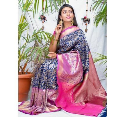 kanchipuram Silk Blue Colour Saree - gnp010547