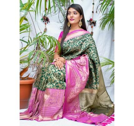kanchipuram Silk Green Colour Saree - gnp010546