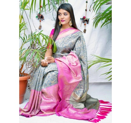 kanchipuram Silk Grey Colour Saree - gnp010545