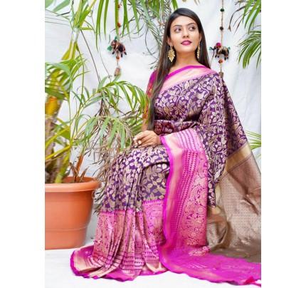 kanchipuram Silk Purple Colour Saree - gnp010550