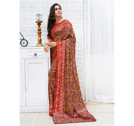 Maroon Colored Bandhani Printed Dola Silk Saree - Yaana