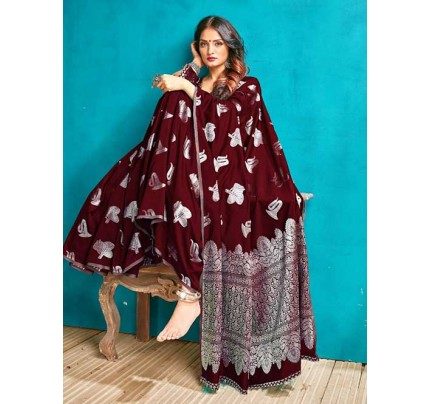 Maroon Colored Beautiful Weaving Banarasi Silk Saree - Silver