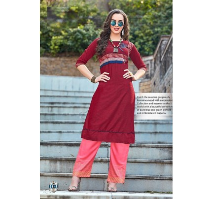 Maroon Rayon Satin Embroidered Kurti with Pant - gnp007005