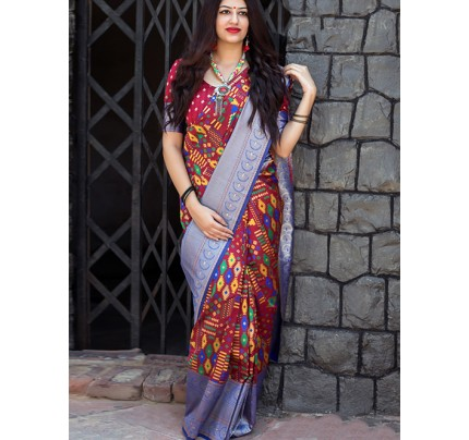 Multi Colored Beautiful Branded Weaving Silk Saree - Maheshvari Silk