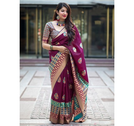 Multi Colored Beautiful Branded Weaving Silk Saree - Mannat