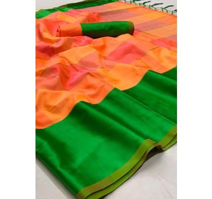 Multi Colored Beautiful Chex Printed Soft Silk Saree