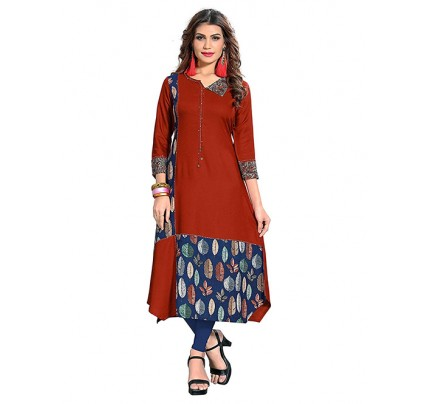 Multi Colored Beautiful Printed A-line Rayon Kurti