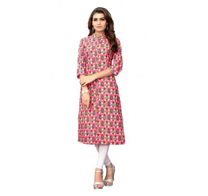 Multi Colored Beautiful Printed Cotton Straight Shirt Style Kurti
