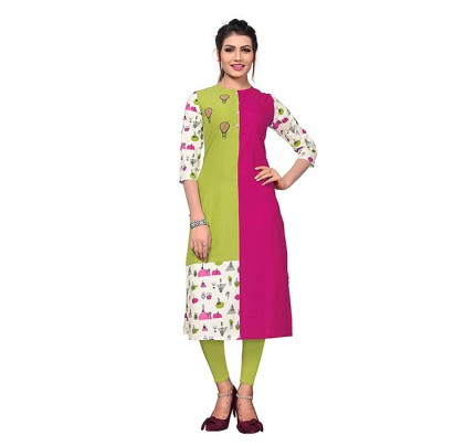 Multi Colored Beautiful Printed Straight Cotton Kurti.