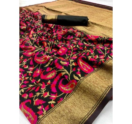 Multi Colored Beautiful Soft Silk Fancy Saree on Sale