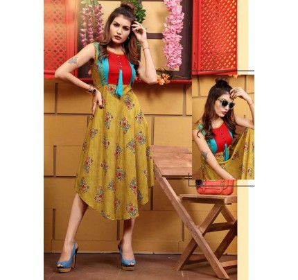 Multi Colored Fabulous Printed V-Cut Rayon Kurti