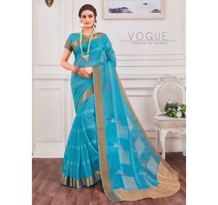 Multi Colored Zari Cotton Blended Silk Fancy Saree |
