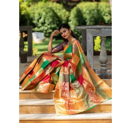 New Branded Multi Colored kanchipuram silk saree