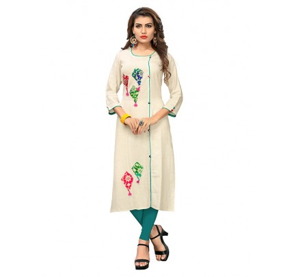 Off White Colored Beautiful Applique Work Stylist Cotton Straight Kurti With Best Quality