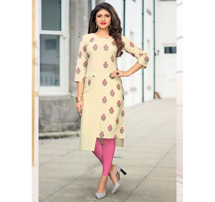 Off White Colored Beautiful Printed High-Low Cotton Kurti