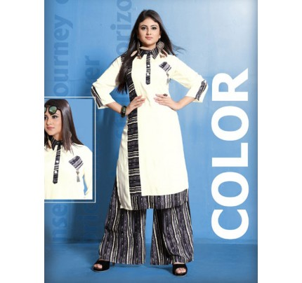 Off White Colored Beautiful Printed Straight Cut Rayon Kurti With Palazzo Set.