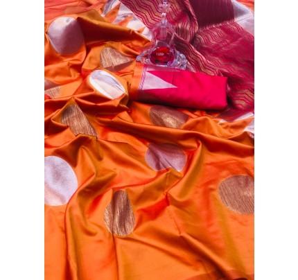 Orange Banarasi Silk Golden And Silver Zari Weaving Saree - gnp008697