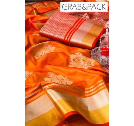 Soft Banarasi silk Weaving Saree gnp007650 - Orange banarasi silk sarees online with price | grabandpack.com