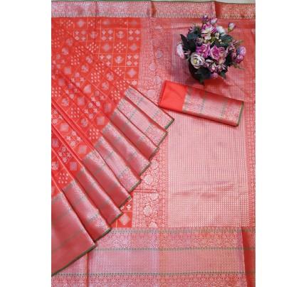 Orange Colored Banarasi Silk Saree Jacquard With Rich Pallu.