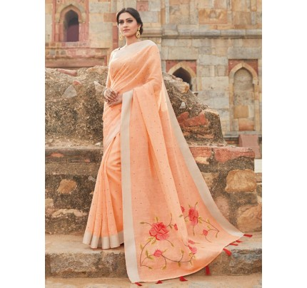 Orange Colored Beautiful Embroidered Linen Saree With Mirror Work - Naisha